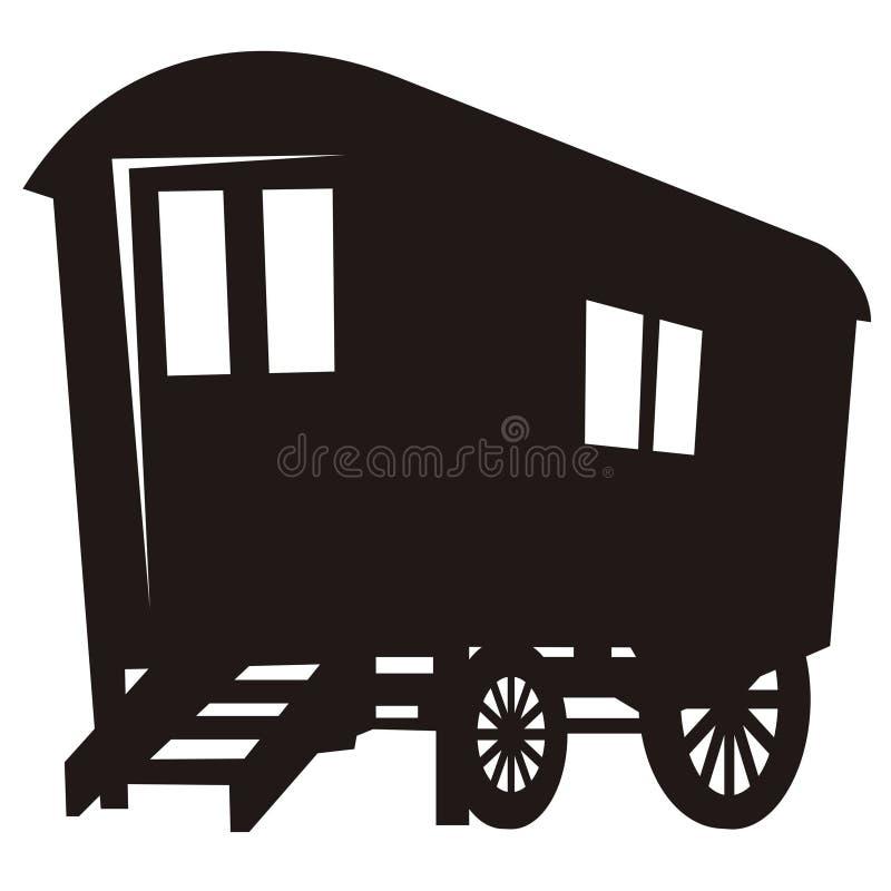 zigensk silhouettevagn för husvagn stock illustrationer
