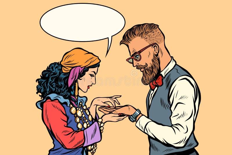 Zigeunerhandlijnkundige en hipster vector illustratie