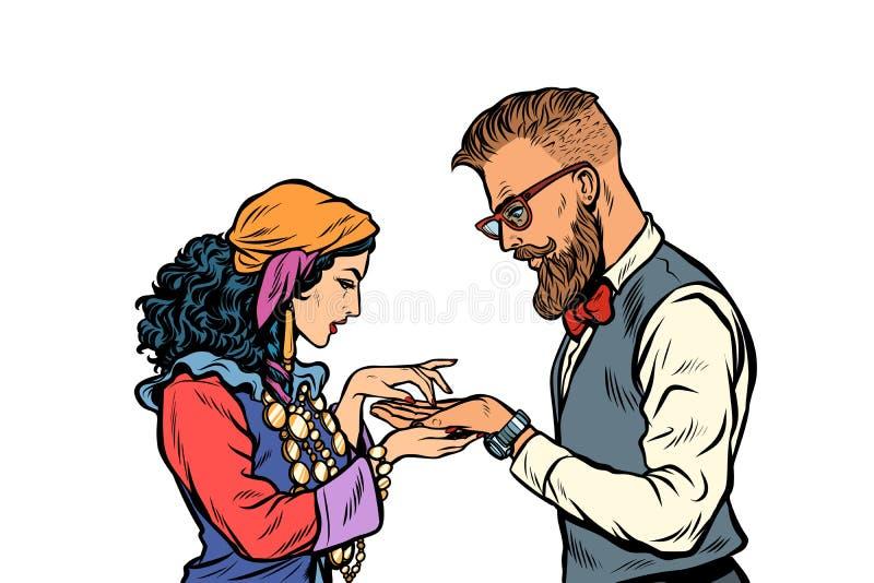 Zigeunerhandlijnkundige en hipster Isoleer op witte achtergrond vector illustratie