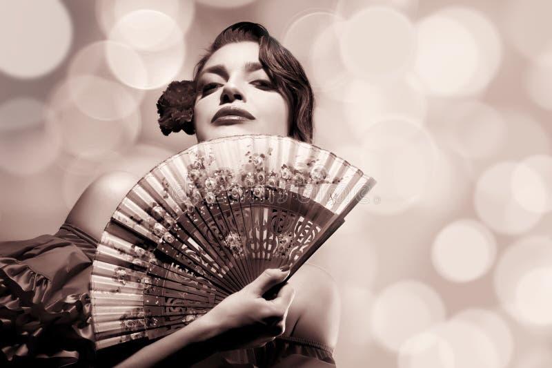 Zigeunermeisje De $ce-andalusisch Vrouw van de schoonheidsmanier Flamencofestival royalty-vrije stock afbeelding