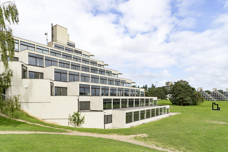 The ziggurat building at the University of East Anglia. Designed by Denys Lasdun, the ziggurat buildings are iconic of the University of East Anglia royalty free stock image