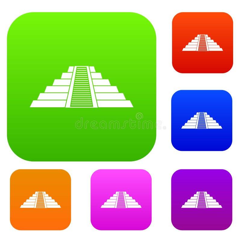 Ziggurat dans la collection réglée de couleur de Chichen Itza illustration de vecteur