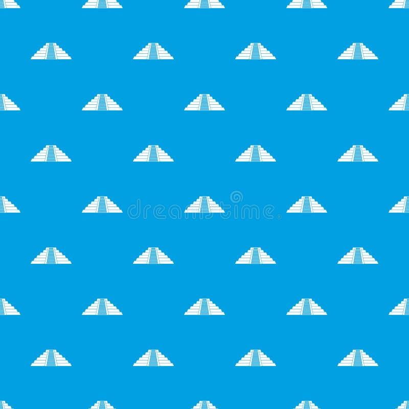 Ziggurat dans le bleu sans couture de modèle de Chichen Itza illustration libre de droits