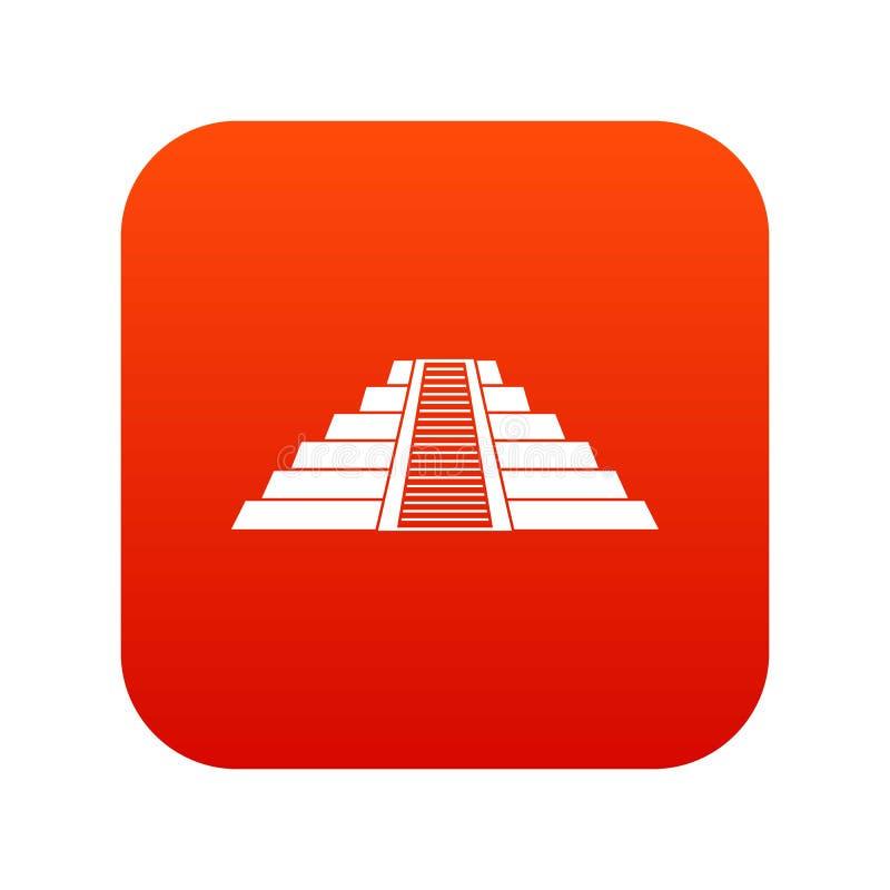 Ziggurat en rouge numérique d'icône de Chichen Itza illustration stock