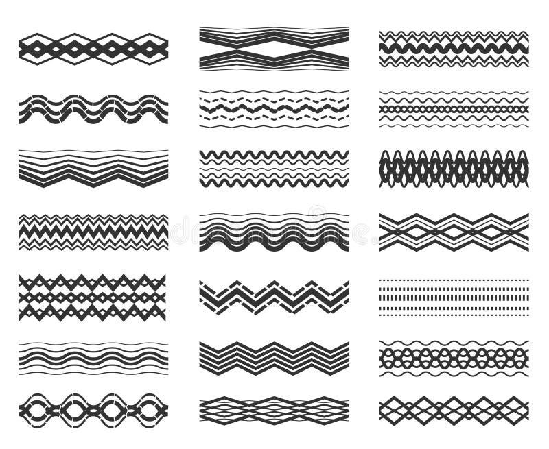 Ziguezague e linha ondulada grupo do teste padrão ilustração stock