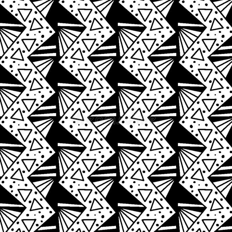 Ziguezague e triângulos preto e branco em um teste padrão sem emenda fresco ilustração do vetor