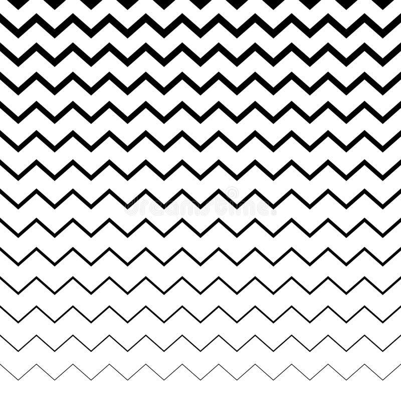 Ziguezague, linhas irregulares onduladas teste padrão Horizontalmente repetível g ilustração stock