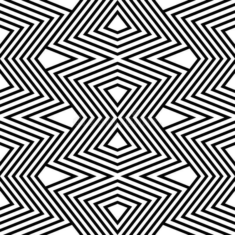Ziguezague preto e branco do teste padrão ilustração stock