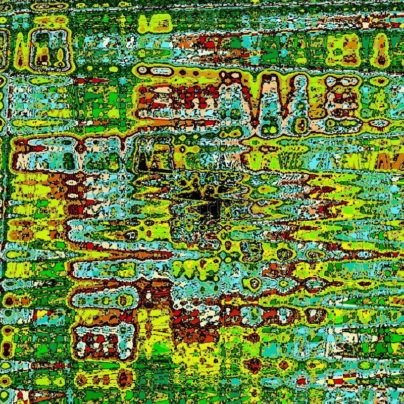 Ziguezague triangular ondulado colorido abstrato bonito da pintura de Digitas em cores do arco-íris ilustração stock