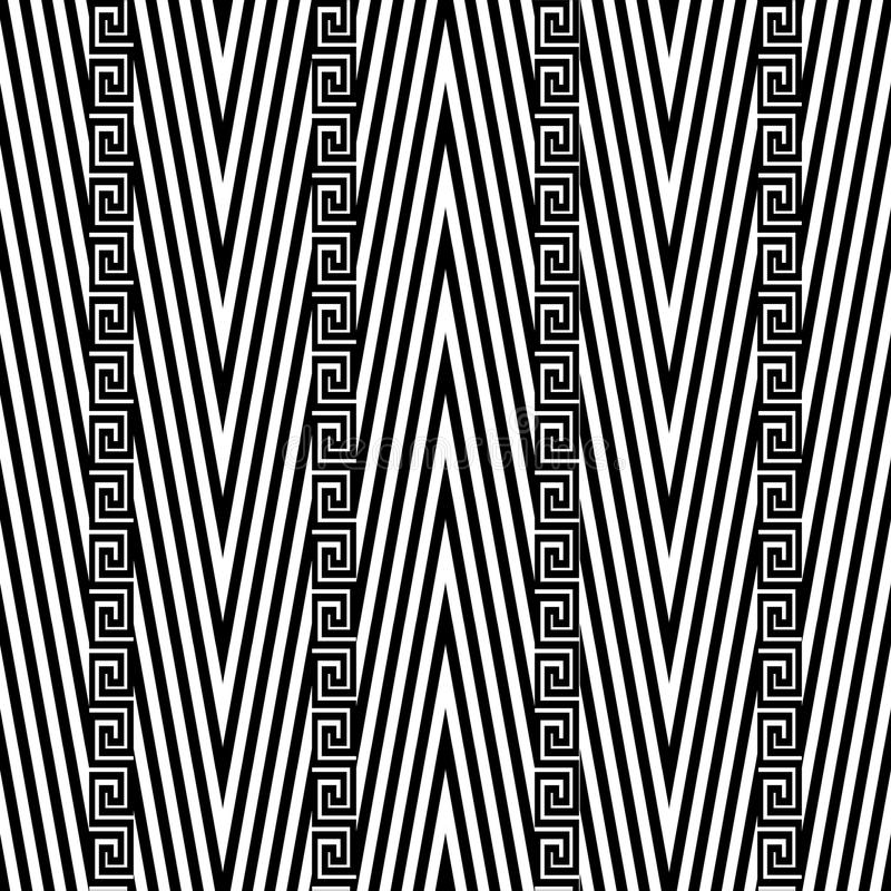 Zigzag chevron vector seamless pattern. Black and white geometric abstract striped background. Greek key vertical borders. vector illustration