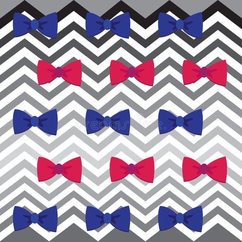 Zigzag de Chevron et modèle sans couture de bowtie illustration stock