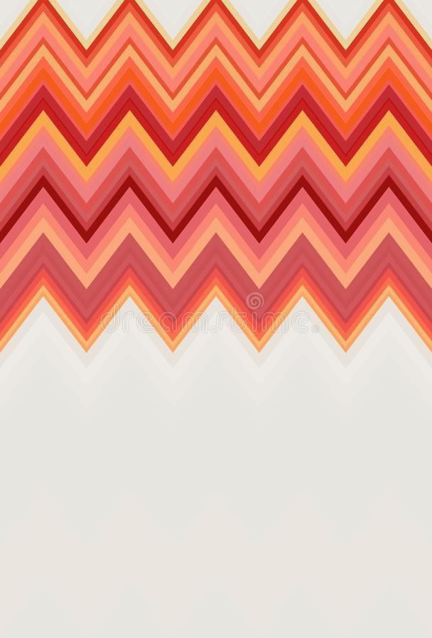 Zigzag de Chevron rouge, fond orange d'art abstrait de modèle du feu de flamme, amertume, cantaloup, carotte, corail, pêche, saum illustration libre de droits