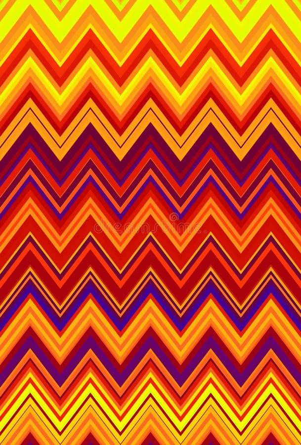 Zigzag de Chevron rouge, fond orange d'art abstrait de modèle du feu de flamme, amertume, cantaloup, carotte, corail, pêche, saum illustration de vecteur