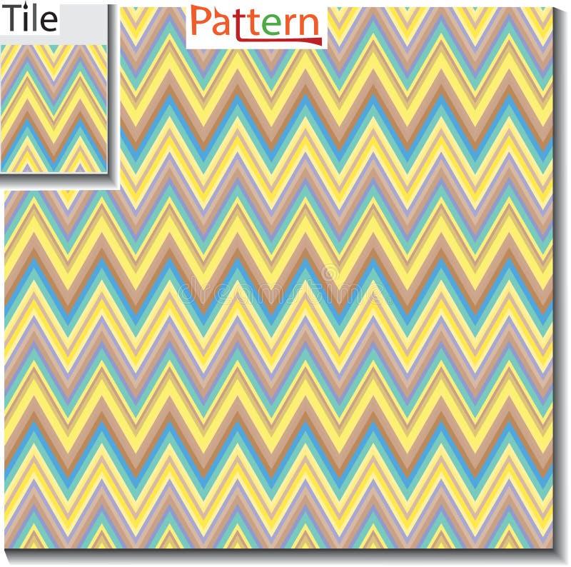 Zigzag en de tegel van de streeplijn met steekproefpatroon Vectorillustra royalty-vrije illustratie