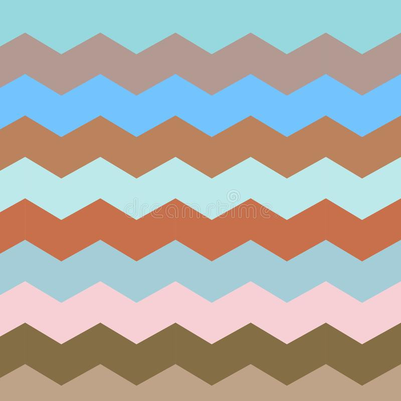 Zigzag et ligne de rayure Rétros couleurs en pastel illustration stock