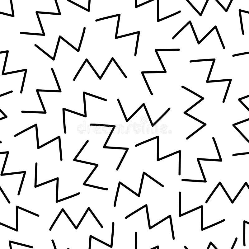 zigzag Fundo retro Teste padrão sem emenda no estilo de memphis ilustração royalty free