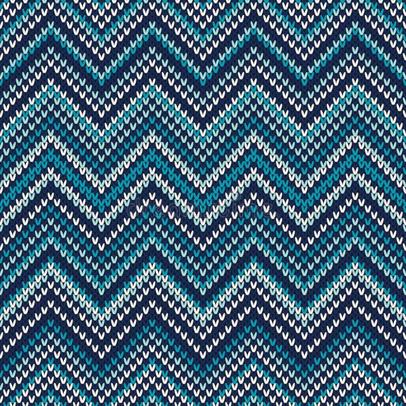 Zigzag Gebreid Patroon Naadloze Achtergrond stock illustratie