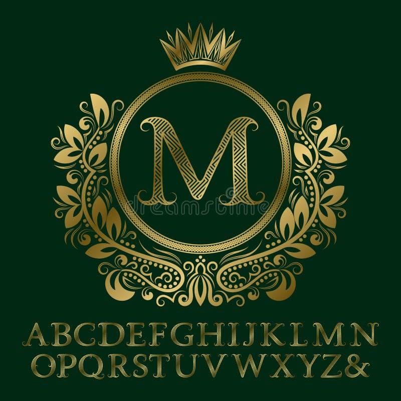 Zigzag gestreepte gouden brieven en aanvankelijk monogram in wapenschildvorm met kroon Elegante doopvont en elementenuitrusting v stock illustratie