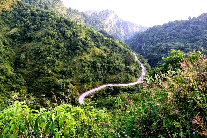 Zigzag Hilly road. Hilly roads are similar to our life. Looks scary but end up showing beautiful destination stock images