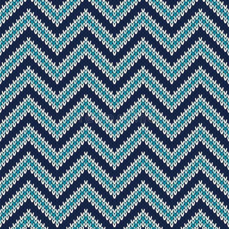 Zigzag Knitted Pattern Seamless Background Stock Vector