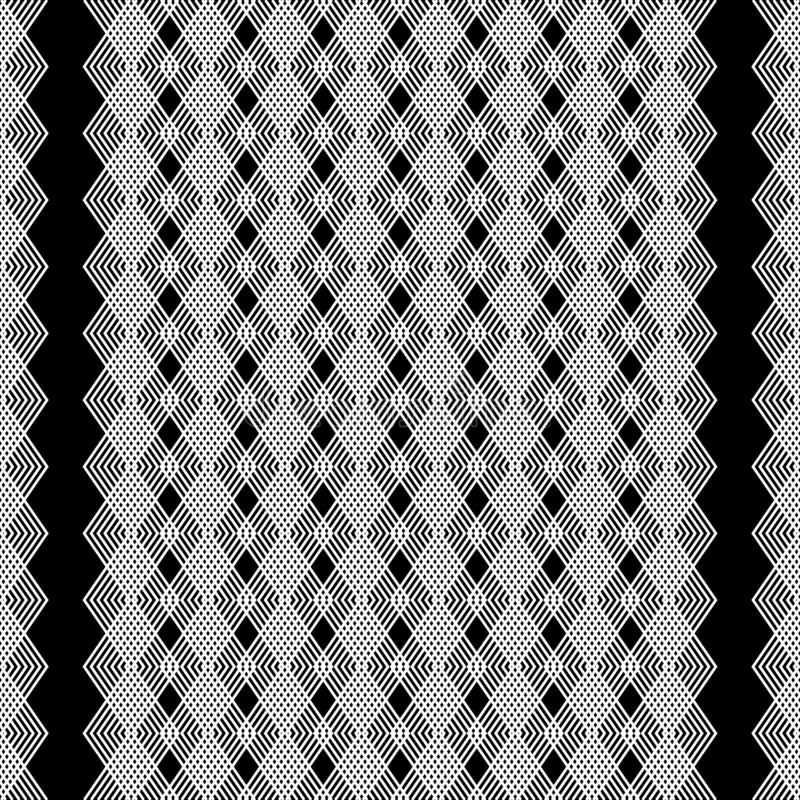 Zigzag lines vector seamless pattern. Black and white geometric lace background. Repeat lacy zig zag backdrop. Striped line art. Abstact ornament. Vertical vector illustration