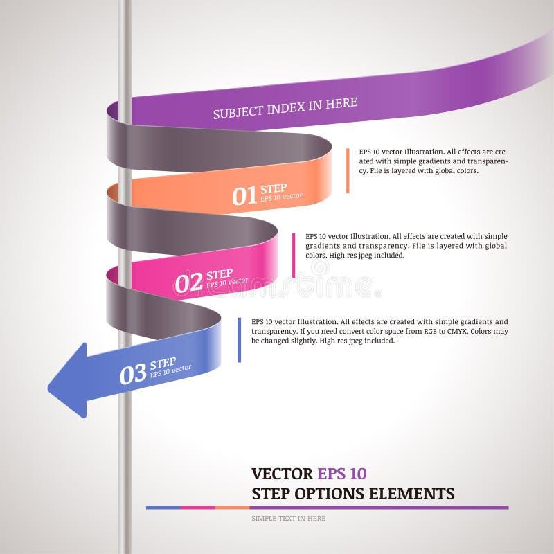 Zigzag moderno infographic, plantilla de la tira de papel de los pasos stock de ilustración