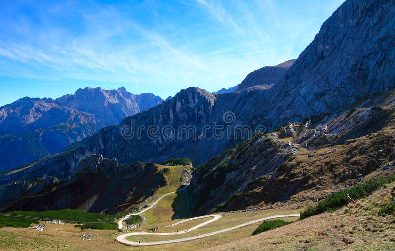 Zigzag Mountain Road. For climbers stock photo