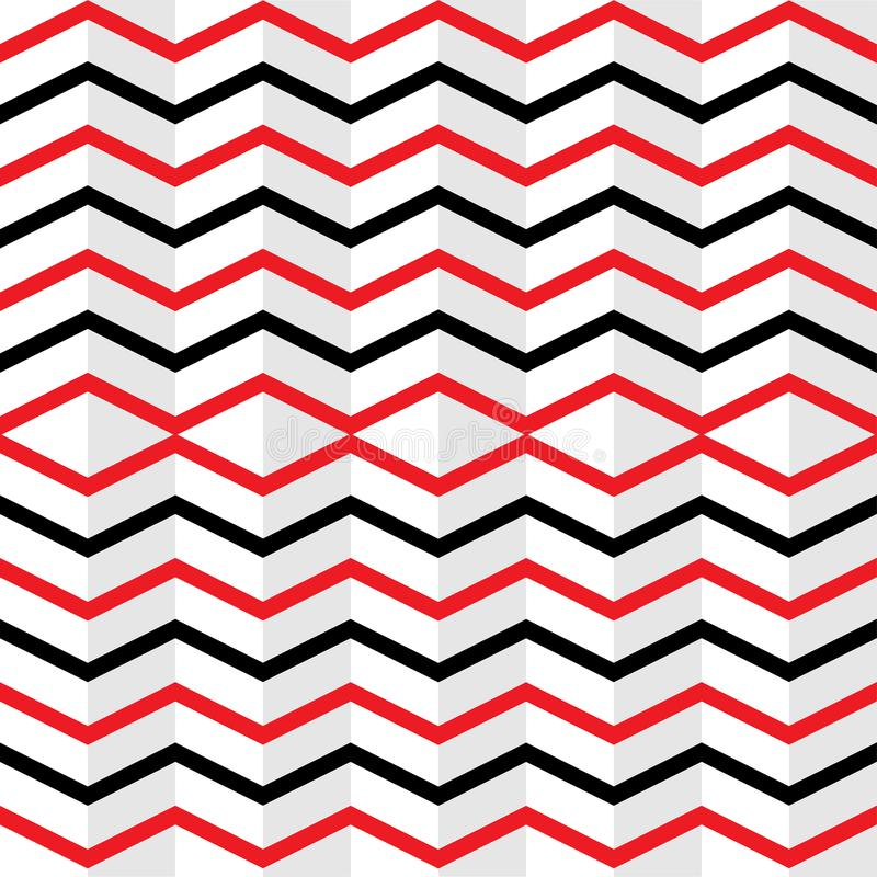 Seamless Interlaced Red and Black Zigzag Stripes Texture in White Background royalty free illustration