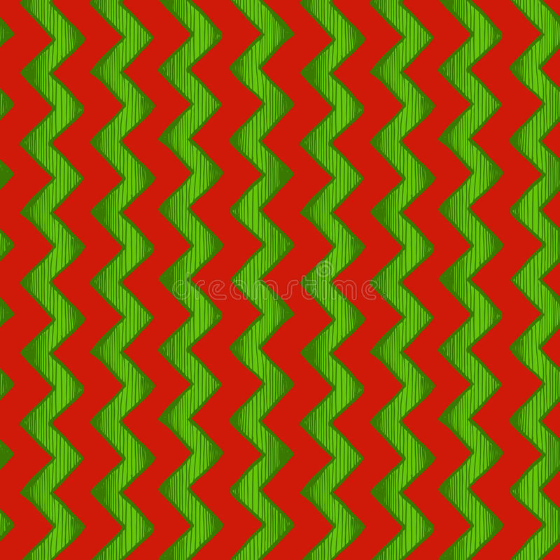 Zigzag parallel lines. Retro wrapping. Seamless pattern of zigzag parallel lines. Vector illustration in ink hand drawn style. Red and green traditional stock illustration