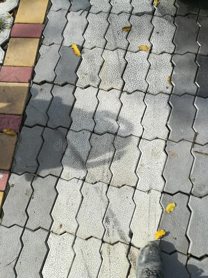 Zigzag paver block. Walking road for stock photo