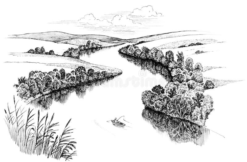 Zigzag River. Flows between summer valleys, ink drawing stock illustration