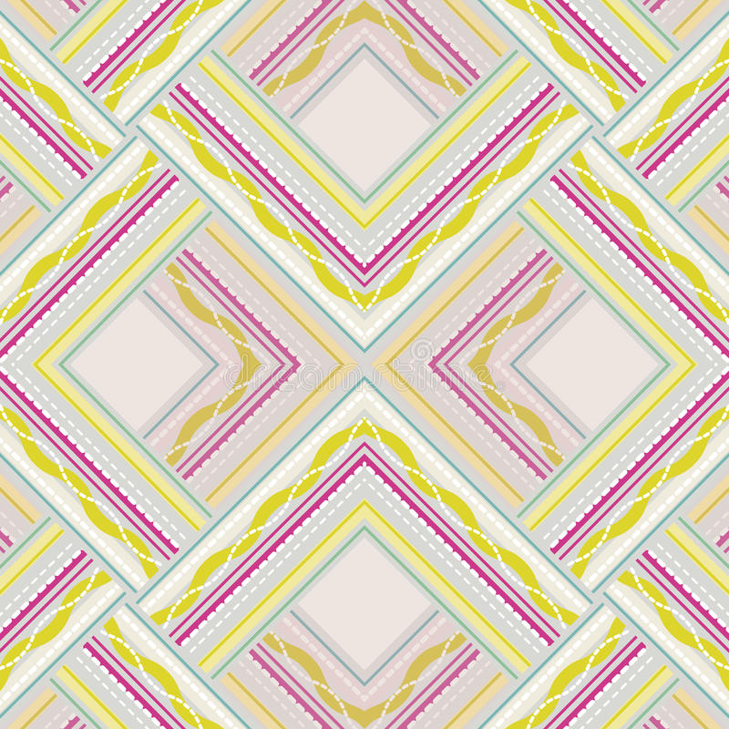 Zigzag seamless pattern of colored lines and dots. royalty free illustration