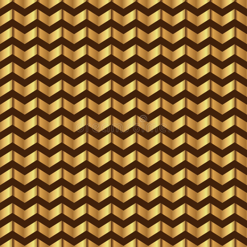 Zigzag seamless pattern. Gold shiny template. Abstract geometric texture. Golden ribbons. Retro Vintage decoration. Design. Template for wallpaper, wrapping and vector illustration