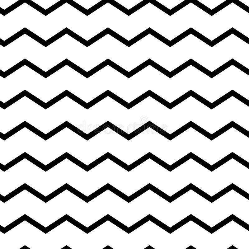 Zigzag senza cuciture geometrico moderno del modello Onde nere isolate su fondo bianco Fondo a strisce del classico retro Vettore illustrazione vettoriale