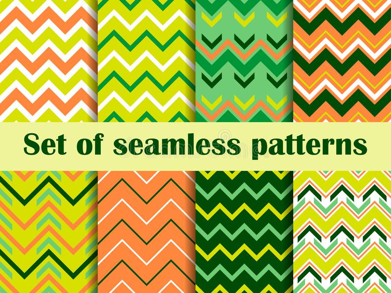 Zigzag set of seamless pattern. Irish colors for St. Patrick`s Day. Backgrounds with waves. Vector royalty free illustration
