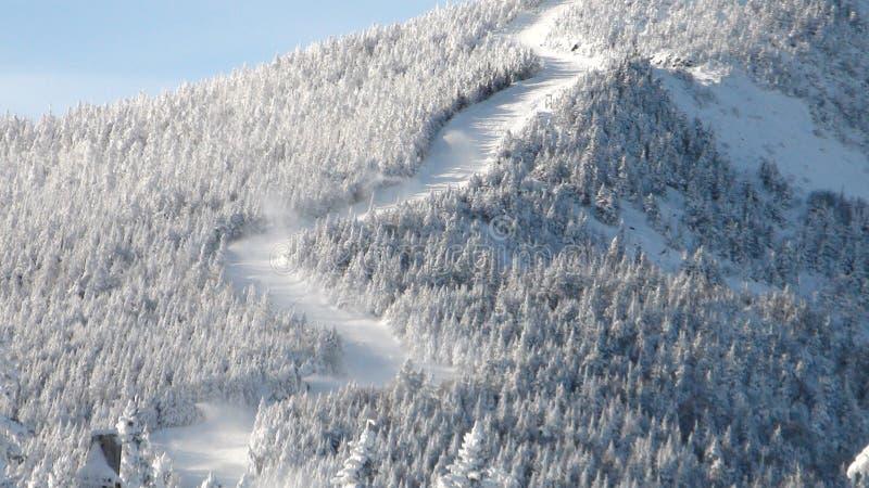 Zigzag ski trails royalty free stock image