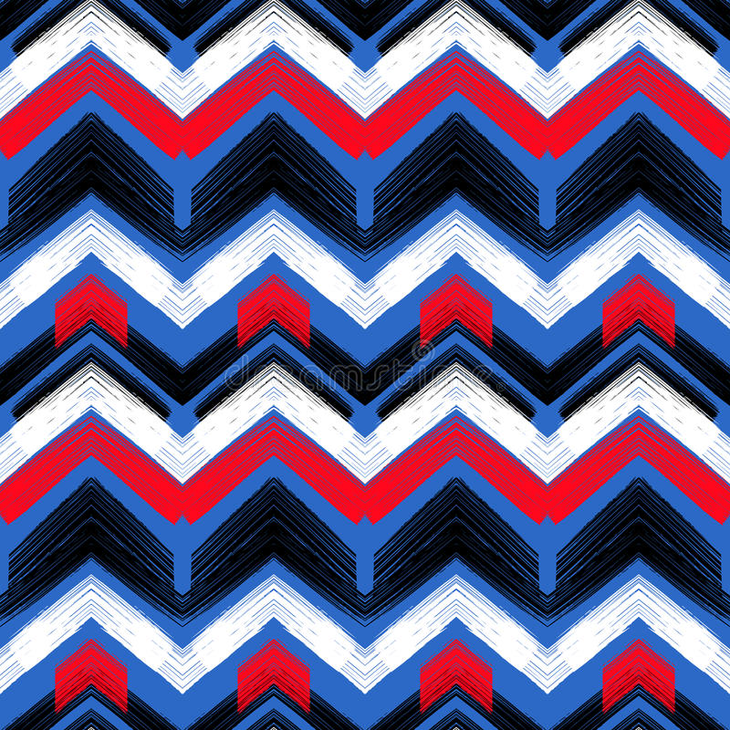 Zigzag tiré par la main multicolore de modèle illustration de vecteur