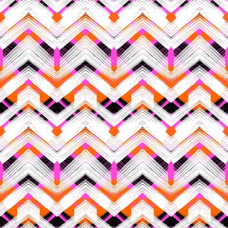 Zigzag tiré par la main multicolore de modèle illustration libre de droits