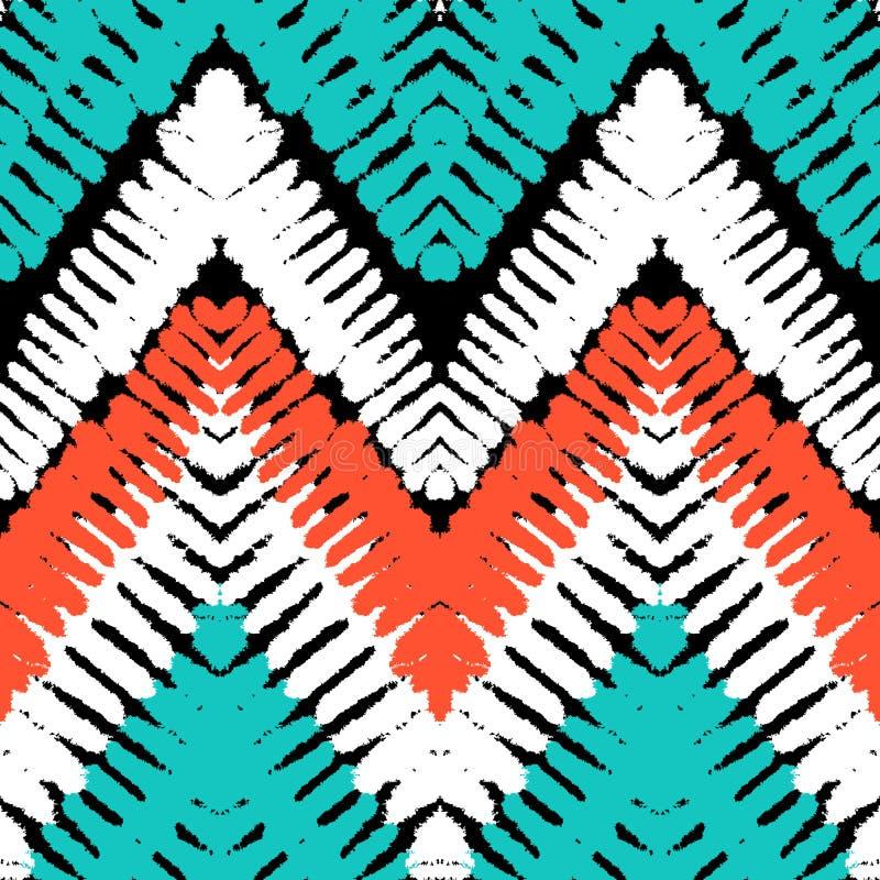 Zigzag tiré par la main multicolore de modèle illustration stock