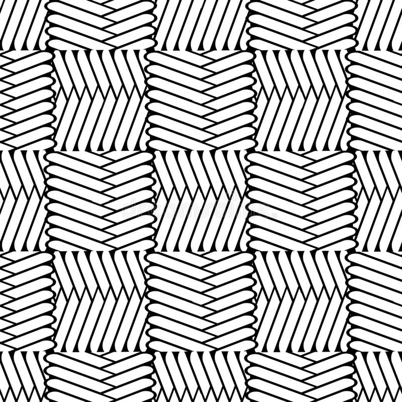 Zigzag tribal black and white vector seamless pattern. Wicker textured background. Ethnic style geometric abstract. Braided ornament with zig zag lines, stripes royalty free illustration