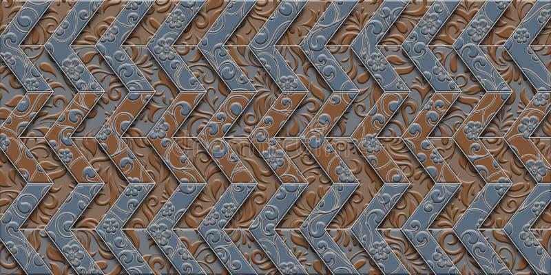 Zigzag white gray floral design for tiles vector illustration