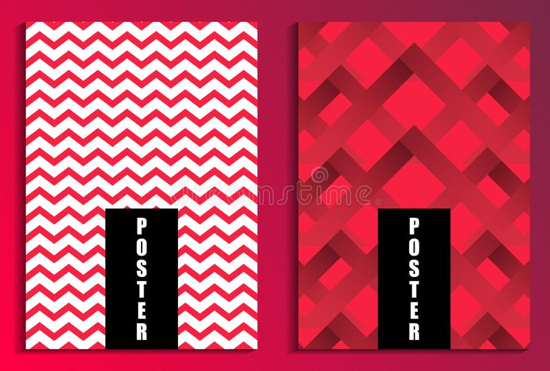 Zigzags on red background poster set. Fashion background. Brochure design templates. Vector royalty free illustration