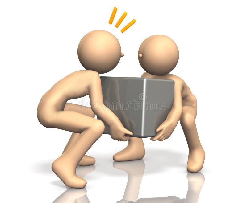Zij delen de zware bagage. vector illustratie