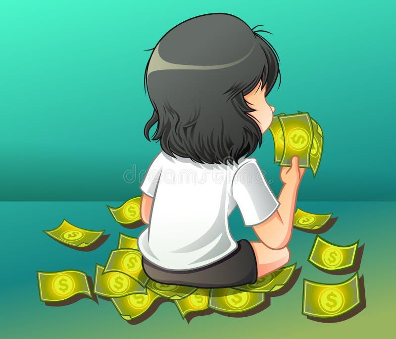 Zij draagt een contant geld stock illustratie