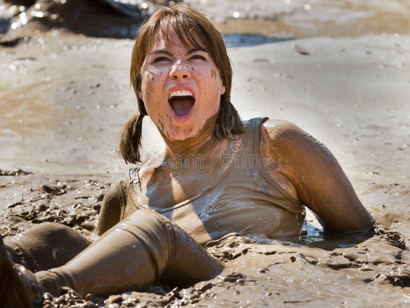 Zij is geplakt in de verraste modder royalty-vrije stock foto