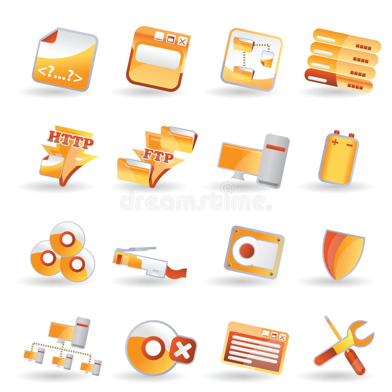 Zij het pictogramreeks van de server vector illustratie