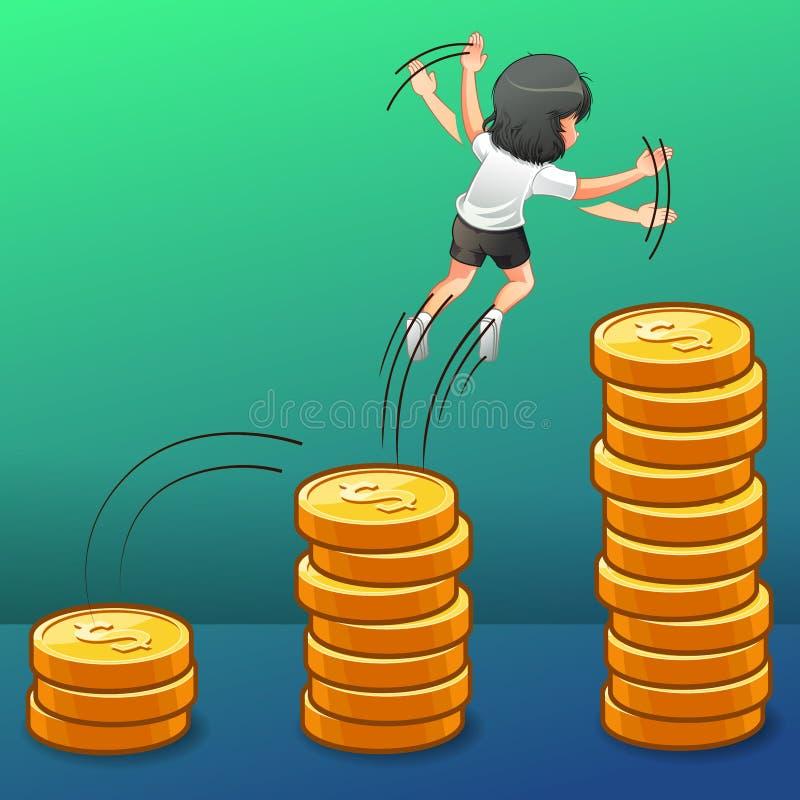 Zij springt in de geldgroei stock illustratie