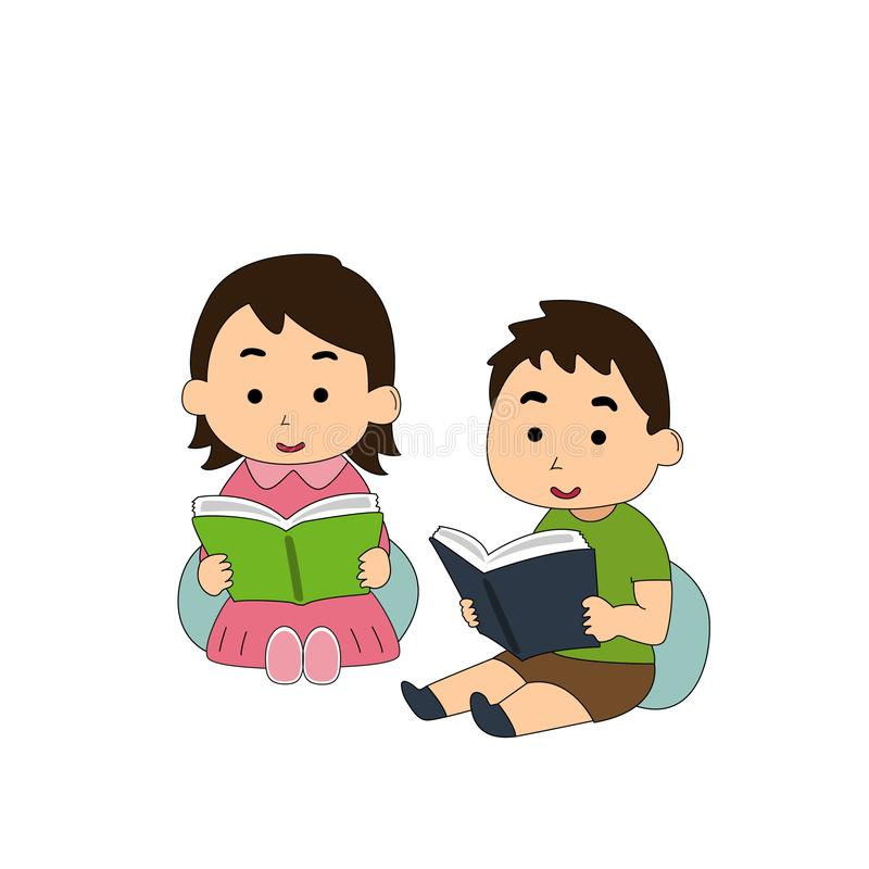 zij worden geabsorbeerd in lezing royalty-vrije illustratie