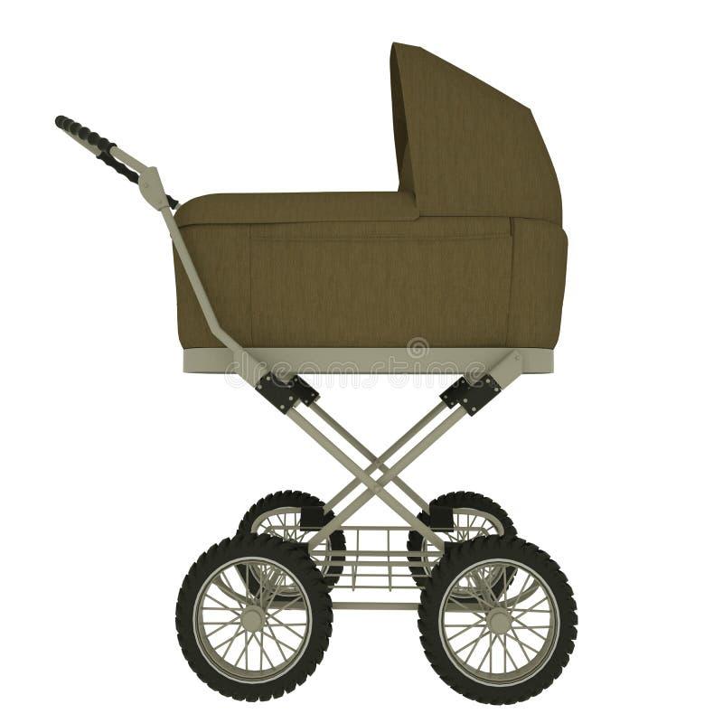 Zijaanzicht van babywandelwagen op witte achtergrond wordt ge?soleerd die 3D Illustratie royalty-vrije stock foto's