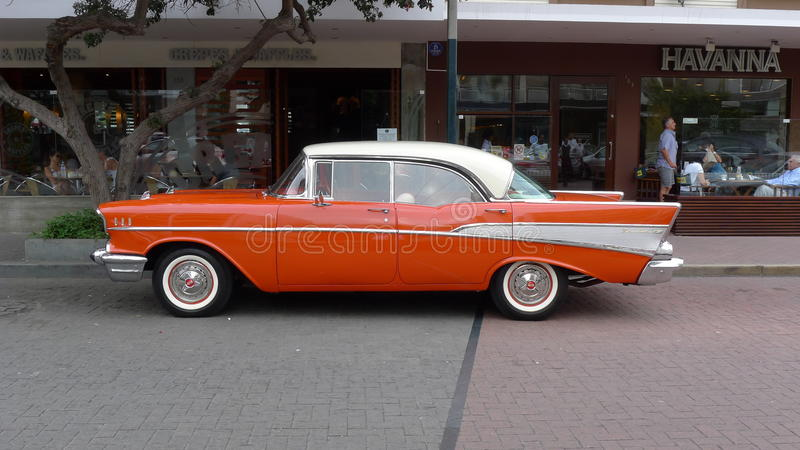 Zijaanzicht van Chevrolet Bel Air in San Isidro royalty-vrije stock foto's